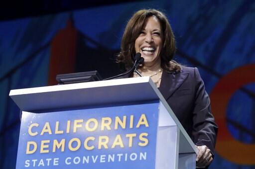 (AP Photo/Jeff Chiu). Democratic presidential candidate Sen. Kamala Harris, D-Calif., speaks during the 2019 California Democratic Party State Organizing Convention in San Francisco, Saturday, June 1, 2019.