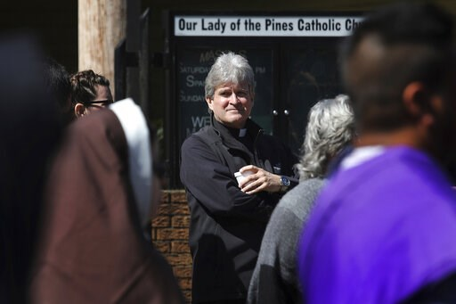 (AP Photo/Wong Maye-E). Monsignor Frank Rossi stands outside Our Lady of the Pines Catholic Church in Woodville, Texas, on Sunday, April 14, 2019. The Galveston-Houston archdiocese acknowledged a sexual relationship between Rossi and parishioner Laura ...