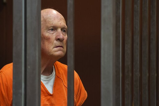 (Paul Kitagaki Jr./The Sacramento Bee via AP, Pool, File). FILE - In this May 29, 2018, file photo, former police officer Joseph DeAngelo, accused of being the Golden State Killer, stands in a Sacramento, Calif., jail court as a judge weighs how much i...