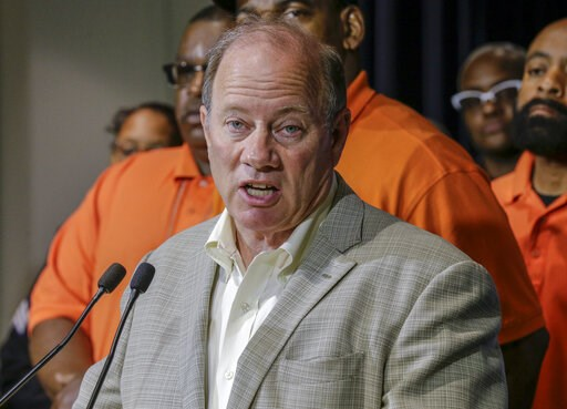 (Kimberly P. Mitchell/Detroit Free Press via AP). Detroit Mayor Mike Duggan speaks during a press conference, Friday, June 7, 2019, at the Detroit Police Headquarters in Detroit, addressing the police response to a possible serial killer. Investigators...