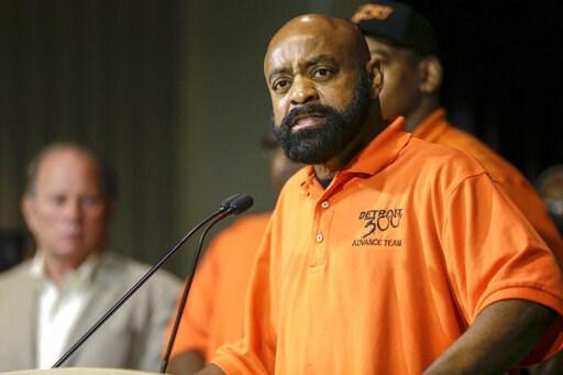 (Kimberly P. Mitchell/Detroit Free Press via AP). Martin Jones, spokesperson for Detroit 300 community action team, speaks during a press conference, Friday, June 7, 2019, at the Detroit Police Headquarters in Detroit, addressing the police response to...