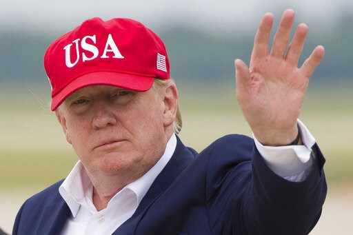 (AP Photo/Alex Brandon). President Donald Trump waves as he steps off Air Force One after arriving, Friday, June 7, 2019, at Andrews Air Force Base, Md.