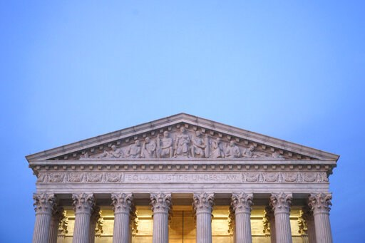 (AP Photo/Patrick Semansky). In this May 23, 2019, photo, the U.S. Supreme Court building at dusk on Capitol Hill in Washington. Virginia is holding legislative elections Tuesday, but a case awaiting a Supreme Court ruling could, in an unlikely scenari...