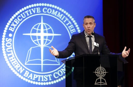 (AP Photo/Mark Humphrey). FILE - In this Monday, Feb. 18, 2019 file photo, Southern Baptist Convention President J.D. Greear speaks to the denomination's executive committee in Nashville, Tenn., after a newspaper investigation revealed hundreds of sexu...