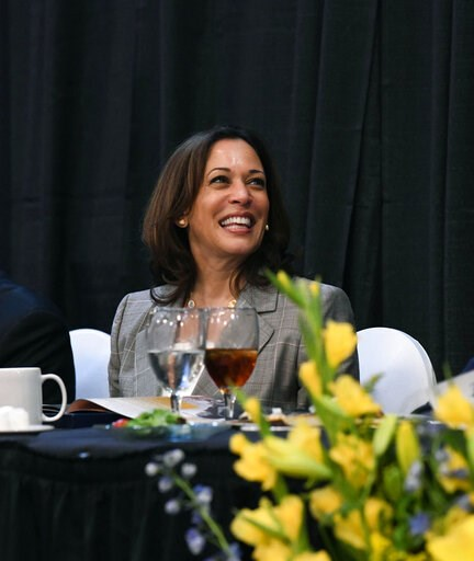 (AP Photo/Meg Kinnard). Democratic presidential candidate Kamala Harris smiles before giving a keynote address at a banquet for the NAACP,  Saturday, June 8, 2019 in West Columbia, S.C.
