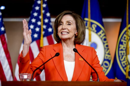 """(AP Photo/Andrew Harnik). In this June 5, 2019, photo, House Speaker Nancy Pelosi of Calif., speaks at the Capitol in Washington. President Donald Trump says it's """"case closed,"""" but Democrats are just getting started with special counsel Robert Mueller..."""