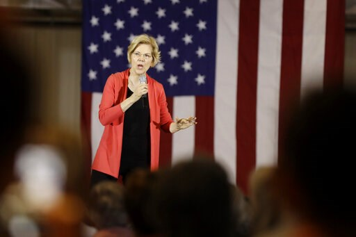 (AP Photo/Darron Cummings). In this June 5, 2019, photo, Democratic presidential candidate Sen. Elizabeth Warren, D-Mass., speaks at the RV/MH Hall of Fame and Museum in Elkhart, Ind. Bernie Sanders has fallen to second place in most polls in the weeks...