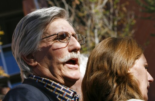 (Isaac Brekken/Pool Photo via AP, File). FILE - In this Dec. 5, 2008, file photo, Fred Goldman, father of Ron Goldman, who was murdered in 1994, speaks to reporters after O.J. Simpson's sentencing hearing outside the Clark County Regional Justice Cente...