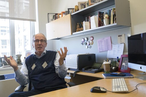 (AP Photo/Mary Altaffer). In this Tuesday, April 16, 2019, photo Steve Burghardt, a professor of social work at the City University of New York, gestures as he speaks in his office at Hunter College's Silberman School of Social Work. Seniors in major m...