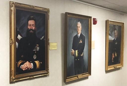 (Rear Adm. Jeffrey Harley/U.S. Naval War College via AP). CORRECTION: TAKES OUT REFERENCE OF OFFICIAL ARTIST'S PORTRAIT ADDS INFORMATION ABOUT PORTRAIT:  This May 2019 photo provided by U.S. Naval War College president Rear Adm. Jeffrey Harley, shows a...