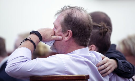 (Tracy Glantz/The State via AP, Pool). Tim Jones, Sr., listens to testimony during the sentencing phase of the trial of his son, Tim Jones, Jr. in Lexington S.C., Monday, June 10, 2019. Timothy Jones, Jr. was found guilty of killing his 5 young childre...