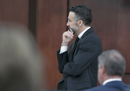 (Tracy Glantz/The State via AP, Pool). Defense attorney Casey Secor waits for Judge Eugene Griffith to make a ruling during the sentencing phase of the trial of Tim Jones Jr. in Lexington, S.C., Monday, June 10, 2019. Timothy Jones, Jr. was found guilt...