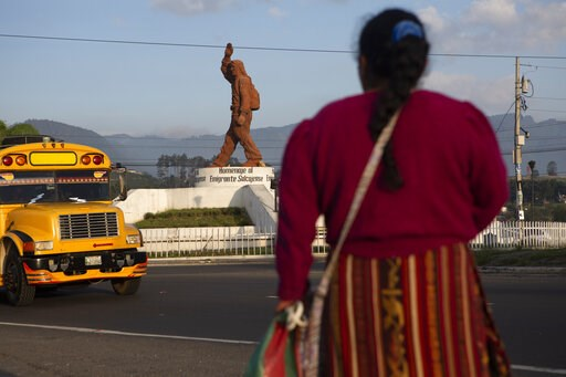 (AP Photo/Moises Castillo). In this June 7, 2019, photo, a Quiche indigenous woman stands facing a monument that pays homage to migrants from the town of Salcaja, at the entrance to the town in Guatemala. Central Americans still dream of reaching the U...