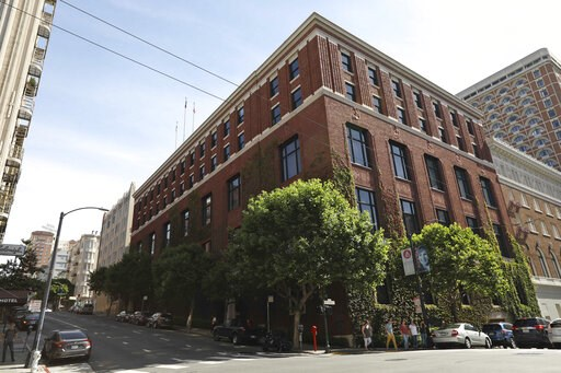 (AP Photo/Samantha Maldonado). An exterior view is seen of the Bohemian Club's home Monday, June 10, 2019, in San Francisco. An elite Northern California men's retreat hosted by the exclusive Bohemian Club is facing scrutiny for excluding women. This c...