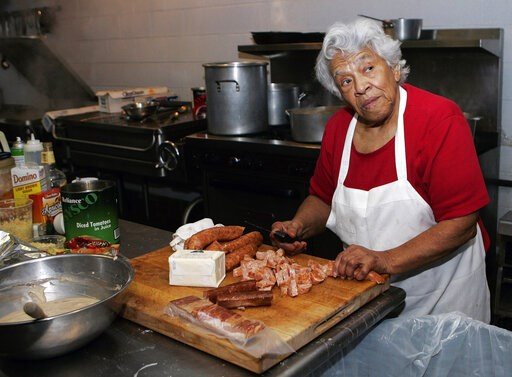 (AP Photo/Bill Haber, File). FILE - In this Jan. 20, 2009, file photo, Chef Leah Chase, owner of Dooky Chase' prepares for lunch at her restaurant in New Orleans. The legendary New Orleans chef and civil rights icon Leah Chase has died at 96, according...