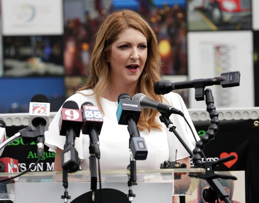 (AP Photo/John Raoux). Barbara Poma, left, CEO of the onePulse foundation speaks during a news conference to introduce legislation that would designate the Pulse nightclub site as a national memorial, Monday, June 10, 2019, in Orlando, Fla.