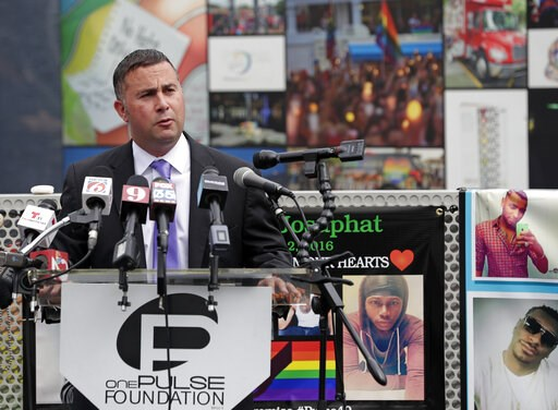 (AP Photo/John Raoux). Rep. Darren Soto, D-Fla. makes comments during a news conference to introduce legislation that would designate the Pulse nightclub site as a national memorial, Monday, June 10, 2019, in Orlando, Fla.