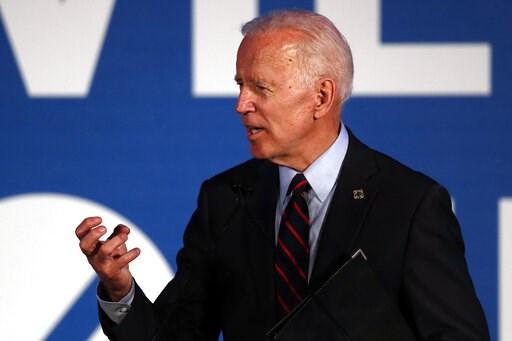 (AP Photo/John Bazemore). Democratic presidential candidate former Vice President Joe Biden speaks during the I Will Vote Fundraising Gala Thursday, June 6, 2019, in Atlanta.