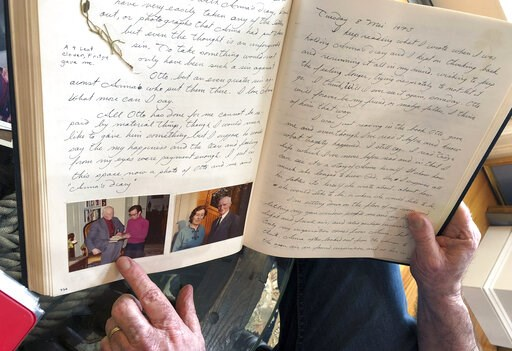 (AP Photo/Philip Marcelo). In this June 7, 2019 photo, Ryan Cooper displays pages from a 1973 portion of a diary at his home in Yarmouth, Mass., which he wrote when he visited Otto Frank, the father of the famed Holocaust victim and diarist Anne Frank....