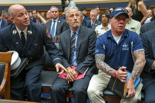 Jon Stewart lends his support to firefighters, first responders and survivors of the September 11 terror attacks at a hearing by the House Judiciary Committee on June 11, 2019. (AP Photo/J. Scott Applewhite)
