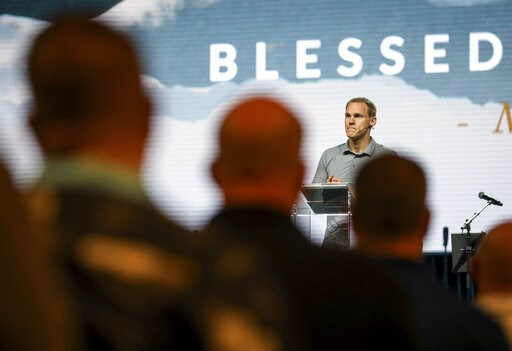 ( Jon Shapley/Houston Chronicle via AP). David Platt, former president of the International Mission Board and a current pastor at McLean Bible Church in Virginia, speaks at the Pastor's Conference at the Southern Baptist Convention on Monday, June 10, ...