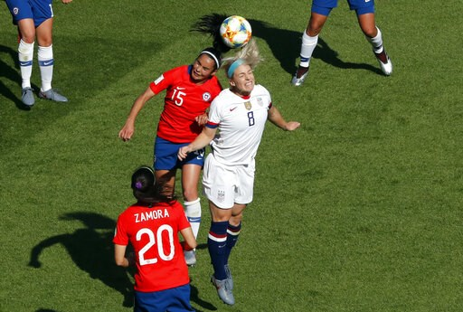 (AP Photo/Thibault Camus). United States' Julie Ertz, center right, jumps for the ball with Chile's Su Helen Galaz during the Women's World Cup Group F soccer match between the United States and Chile at the Parc des Princes in Paris, Sunday, June 16, ...