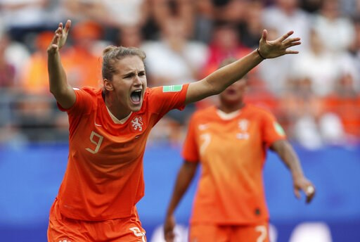 (AP Photo/Francisco Seco). Netherlands' Vivianne Miedema reacts to a call during the Women's World Cup Group E soccer match between the Netherlands and Canada at Stade Auguste-Delaune in Reims, France, Thursday, June 20, 2019.