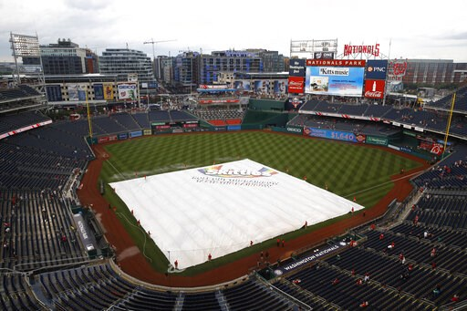(AP Photo/Patrick Semansky). A tarp covers the infield during a rain delay before a baseball game between the Philadelphia Phillies and the Washington Nationals, Monday, June 17, 2019, in Washington.