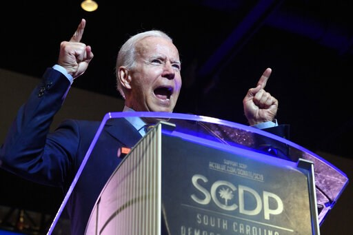 (AP Photo/Meg Kinnard). Former Vice President Joe Biden addresses the South Carolina Democratic Party convention, Saturday, June 22, 2019 in Columbia, S.C..