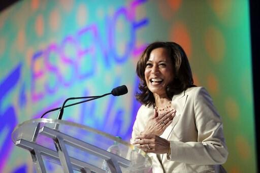 (AP Photo/Gerald Herbert). Democratic presidential candidate, Sen. Kamala Harris, D-Calif., speaks at the 25th Essence Festival in New Orleans, Saturday, July 6, 2019.