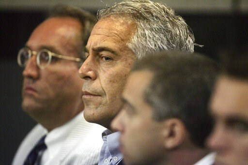 (Uma Sanghvi/Palm Beach Post via AP, File). FILE - In this July 30, 2008 file photo, Jeffrey Epstein, center, is shown in custody in West Palm Beach, Fla. The wealthy financier and convicted sex offender has been arrested in New York on sex trafficking...