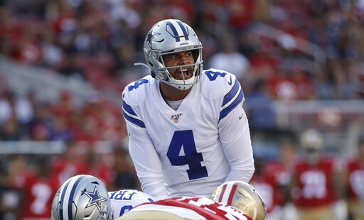 (AP Photo/Jeff Chiu). Dallas Cowboys quarterback Dak Prescott (4) stands behind center during the first half of the team's NFL preseason football game against the San Francisco 49ers in Santa Clara, Calif., Saturday, Aug. 10, 2019.