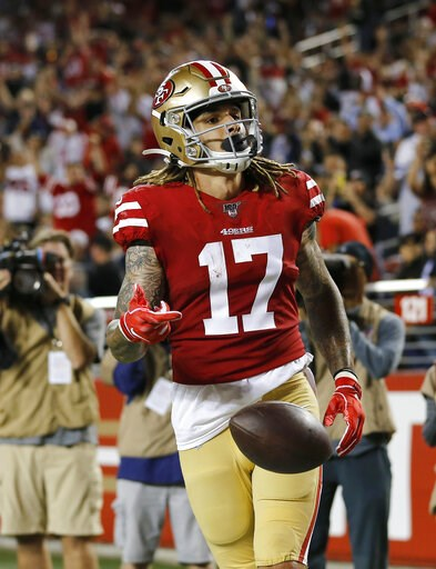 (AP Photo/Josie Lepe). San Francisco 49ers wide receiver Jalen Hurd celebrates after scoring against the Dallas Cowboys during the second half of an NFL preseason football game in Santa Clara, Calif., Saturday, Aug. 10, 2019.