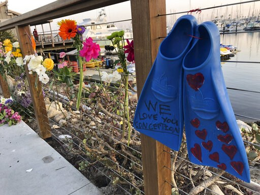 (AP Photo/Stefanie Dazio). A memorial outside Truth Aquatics for the victims of the Conception boat fire, Monday, Sept. 2, 2019. A fire raged through a boat carrying recreational scuba divers anchored near an island off the Southern California coast ea...