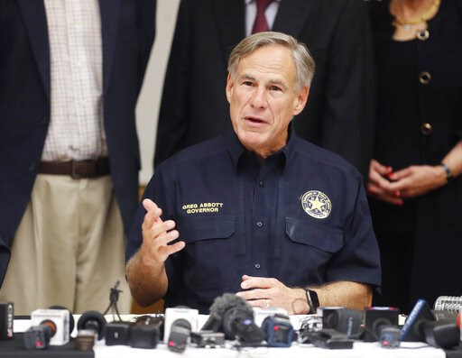 (Mark Rogers/Odessa American via AP). Texas Gov. Greg Abbott talks a mass shooting in Odessa during a news conference Sunday, Sept. 1, 2019, in Odessa, Texas.