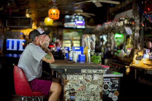 (AP Photo/Stephen B. Morton). Andrew Parker watches the latest on Hurricane Dorian from the bar at Huc-A-Poos pizza restaurant, Wednesday, Sept. 4, 2019, in Tybee Island, Ga. Parker said he's been through eight hurricanes in his lifetime as a resident ...
