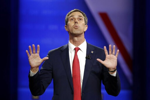 (AP Photo/Marcio Jose Sanchez). In this Oct. 10, 2019 photo, Democratic presidential candidate former Texas Rep. Beto O'Rourke speaks during the Power of our Pride Town Hall in Los Angeles.  O'Rourke has announced he's dropping his 2020 presidential bid.