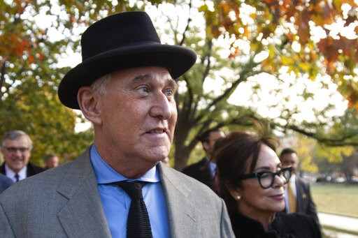 (AP Photo/Manuel Balce Ceneta). Roger Stone with his wife Nydia Stone, right, leave federal court Washington, Tuesday, Nov. 12, 2019. Stone, a longtime Republican provocateur and former confidant of President Donald Trump, wanted to contact Jared Kushn...