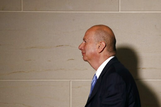(AP Photo/Patrick Semansky, File). FILE - In this Monday, Oct. 28, 2019, file photo, U.S. Ambassador to the European Union Gordon Sondland walks to a secure area of the Capitol to testify as part of the House impeachment inquiry into President Donald T...