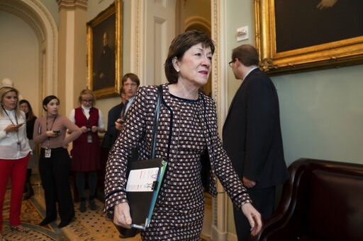 (AP Photo/J. Scott Applewhite). Sen. Susan Collins, R-Maine, arrives for a closed meeting with fellow Republicans about the looming impeachment trial of President Donald Trump, at the Capitol in Washington, Tuesday, Jan. 7, 2020.