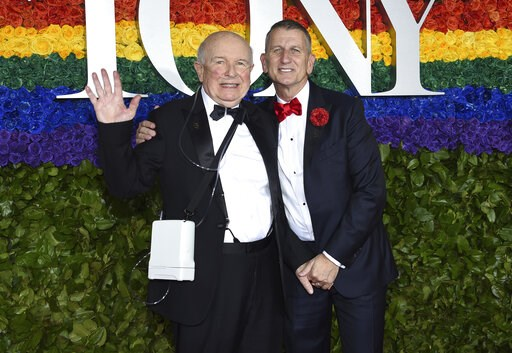 (Photo by Evan Agostini/Invision/AP, File). FILE - This June 9, 2019 file photo shows playwright Terrence McNally, left, and Tom Kirdahy at the 73rd annual Tony Awards in New York.  McNally, one of America's great playwrights whose prolific career incl...